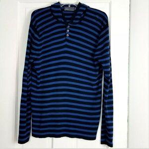 Vince Henley Hooded Sweater Striped Italian Yarn